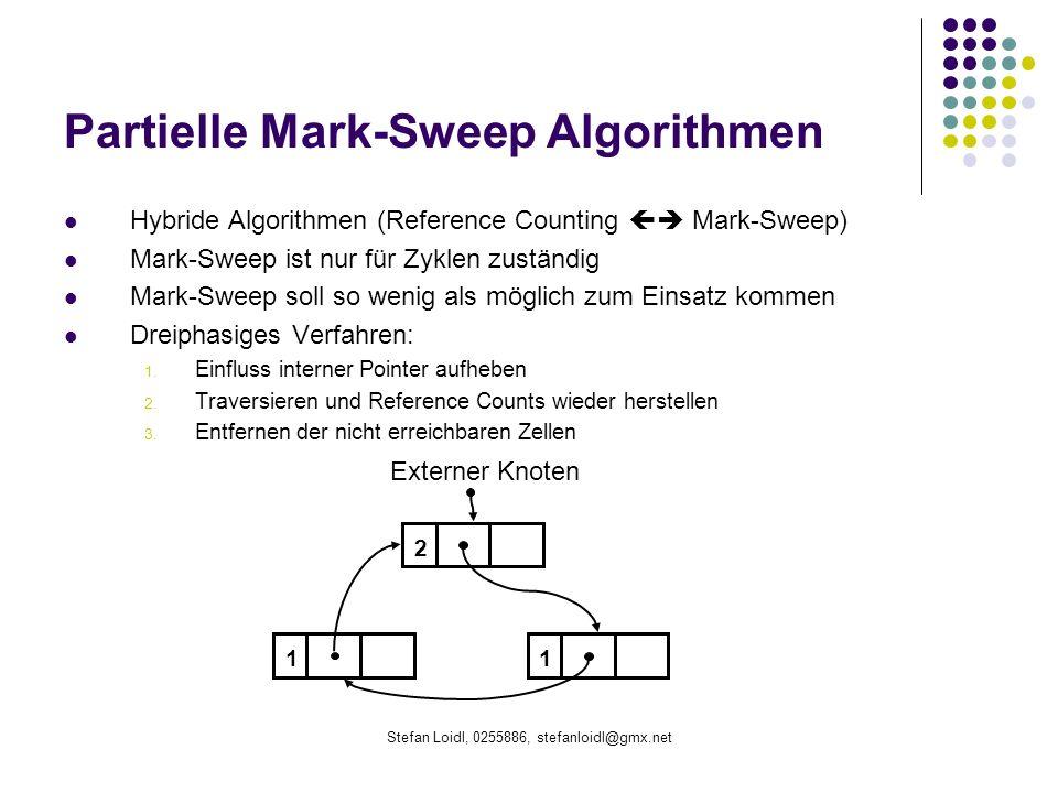 Stefan Loidl, 0255886, stefanloidl@gmx.net Partielle Mark-Sweep Algorithmen Hybride Algorithmen (Reference Counting Mark-Sweep) Mark-Sweep ist nur für Zyklen zuständig Mark-Sweep soll so wenig als möglich zum Einsatz kommen Dreiphasiges Verfahren: 1.