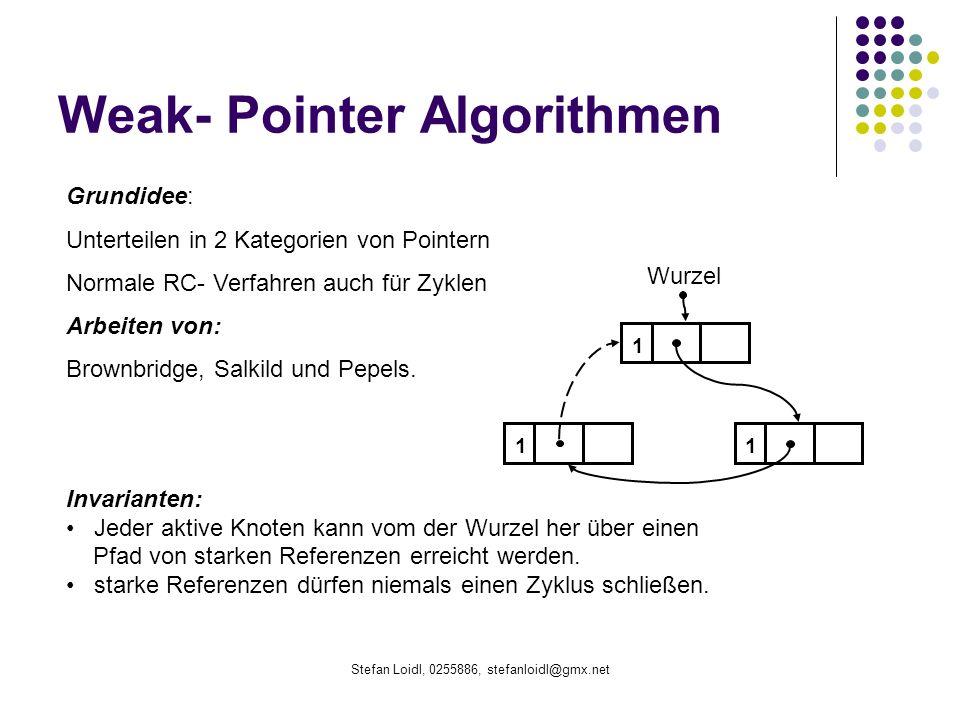 Stefan Loidl, 0255886, stefanloidl@gmx.net Weak- Pointer Algorithmen Grundidee: Unterteilen in 2 Kategorien von Pointern Normale RC- Verfahren auch für Zyklen Arbeiten von: Brownbridge, Salkild und Pepels.