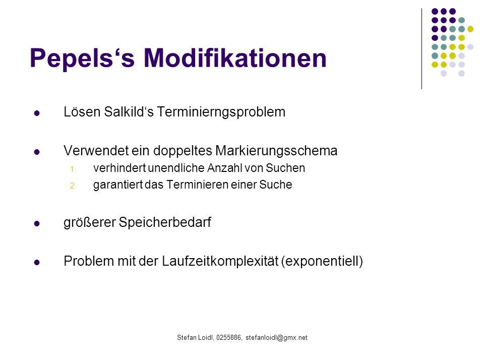 Stefan Loidl, 0255886, stefanloidl@gmx.net Pepelss Modifikationen Lösen Salkilds Terminierngsproblem Verwendet ein doppeltes Markierungsschema 1.