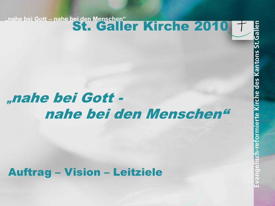 nahe bei Gott – nahe bei den Menschen nahe bei Gott - nahe bei den Menschen Abschnittabstand St. Galler Kirche 2010 Auftrag – Vision – Leitziele