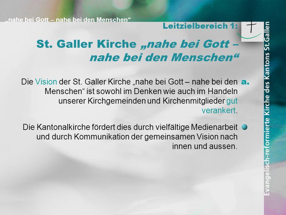 nahe bei Gott – nahe bei den Menschen Leitzielbereich 1: St. Galler Kirche nahe bei Gott – nahe bei den Menschen Die Vision der St. Galler Kirche nahe