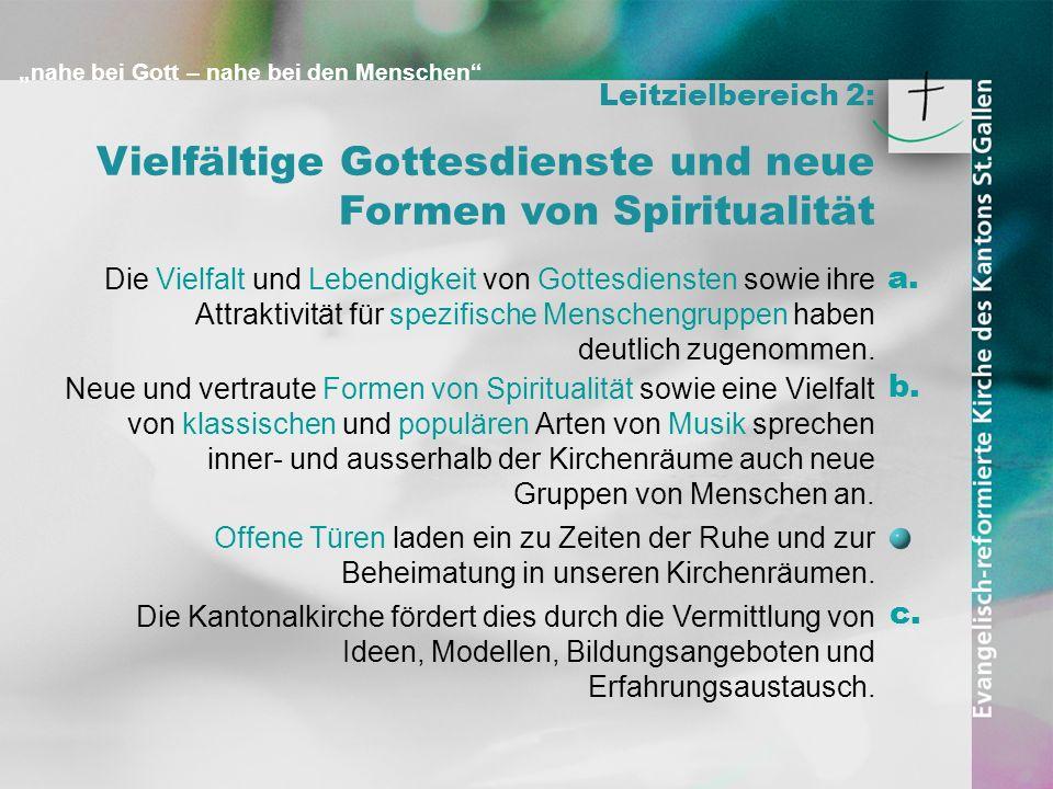 nahe bei Gott – nahe bei den Menschen Leitzielbereich 2: Vielfältige Gottesdienste und neue Formen von Spiritualität Die Vielfalt und Lebendigkeit von
