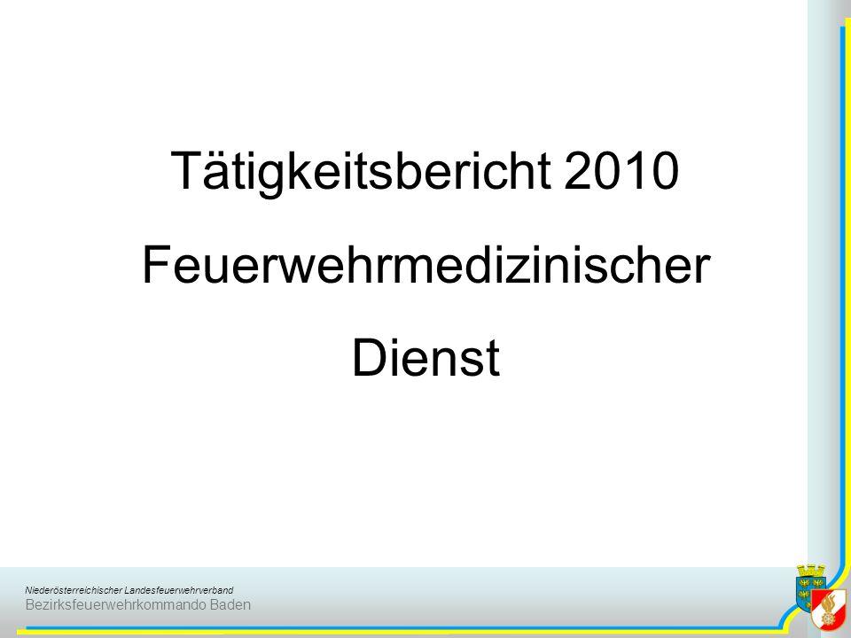 Niederösterreichischer Landesfeuerwehrverband Bezirksfeuerwehrkommando Baden Tätigkeitsbericht 2010 Feuerwehrmedizinischer Dienst