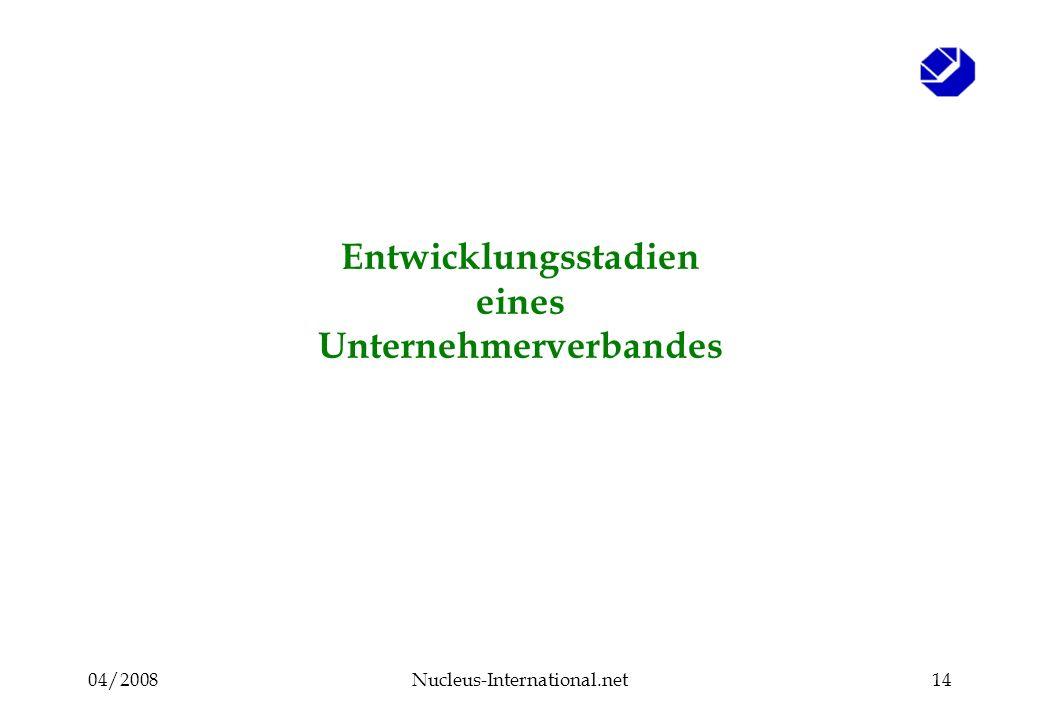 04/2008Nucleus-International.net14 Entwicklungsstadien eines Unternehmerverbandes