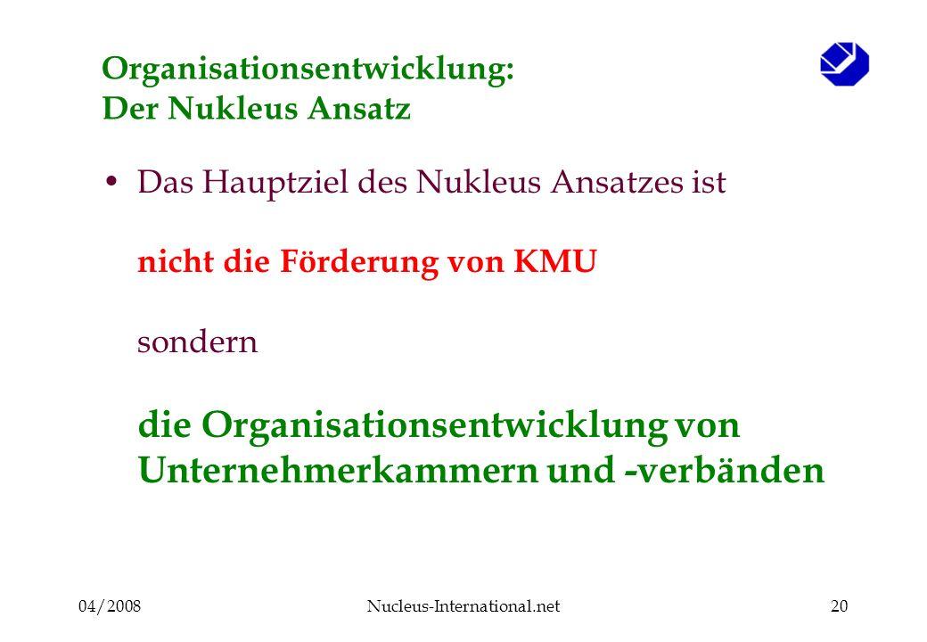 04/2008Nucleus-International.net20 Organisationsentwicklung: Der Nukleus Ansatz Das Hauptziel des Nukleus Ansatzes ist nicht die Förderung von KMU sondern die Organisationsentwicklung von Unternehmerkammern und -verbänden