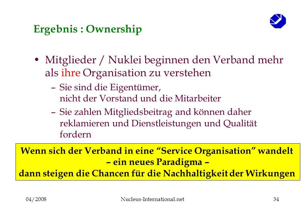 04/2008Nucleus-International.net34 Ergebnis : Ownership Mitglieder / Nuklei beginnen den Verband mehr als ihre Organisation zu verstehen –Sie sind die