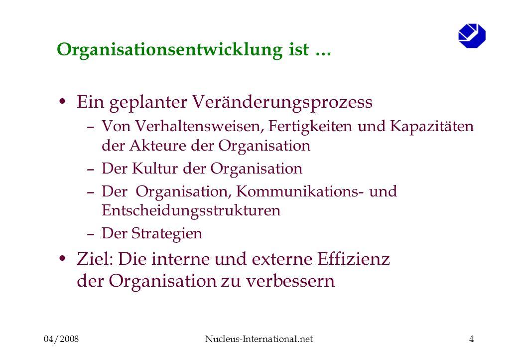 04/2008Nucleus-International.net4 Organisationsentwicklung ist … Ein geplanter Veränderungsprozess –Von Verhaltensweisen, Fertigkeiten und Kapazitäten der Akteure der Organisation –Der Kultur der Organisation –Der Organisation, Kommunikations- und Entscheidungsstrukturen –Der Strategien Ziel: Die interne und externe Effizienz der Organisation zu verbessern