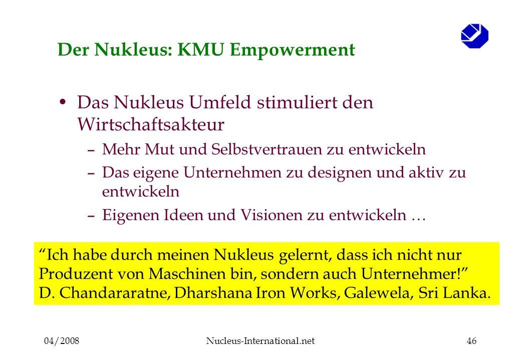 04/2008Nucleus-International.net46 Der Nukleus: KMU Empowerment Das Nukleus Umfeld stimuliert den Wirtschaftsakteur –Mehr Mut und Selbstvertrauen zu e