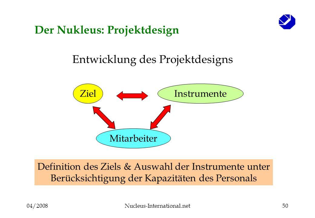 04/2008Nucleus-International.net50 Der Nukleus: Projektdesign ZielInstrumente Entwicklung des Projektdesigns Mitarbeiter Definition des Ziels & Auswahl der Instrumente unter Berücksichtigung der Kapazitäten des Personals