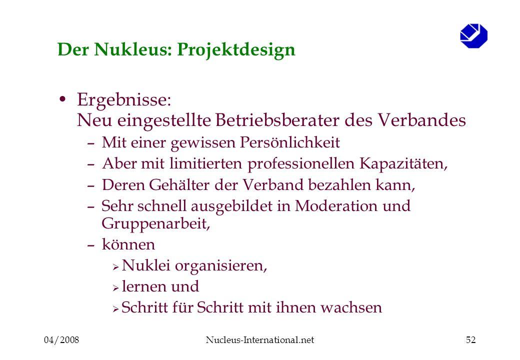 04/2008Nucleus-International.net52 Der Nukleus: Projektdesign Ergebnisse: Neu eingestellte Betriebsberater des Verbandes –Mit einer gewissen Persönlic