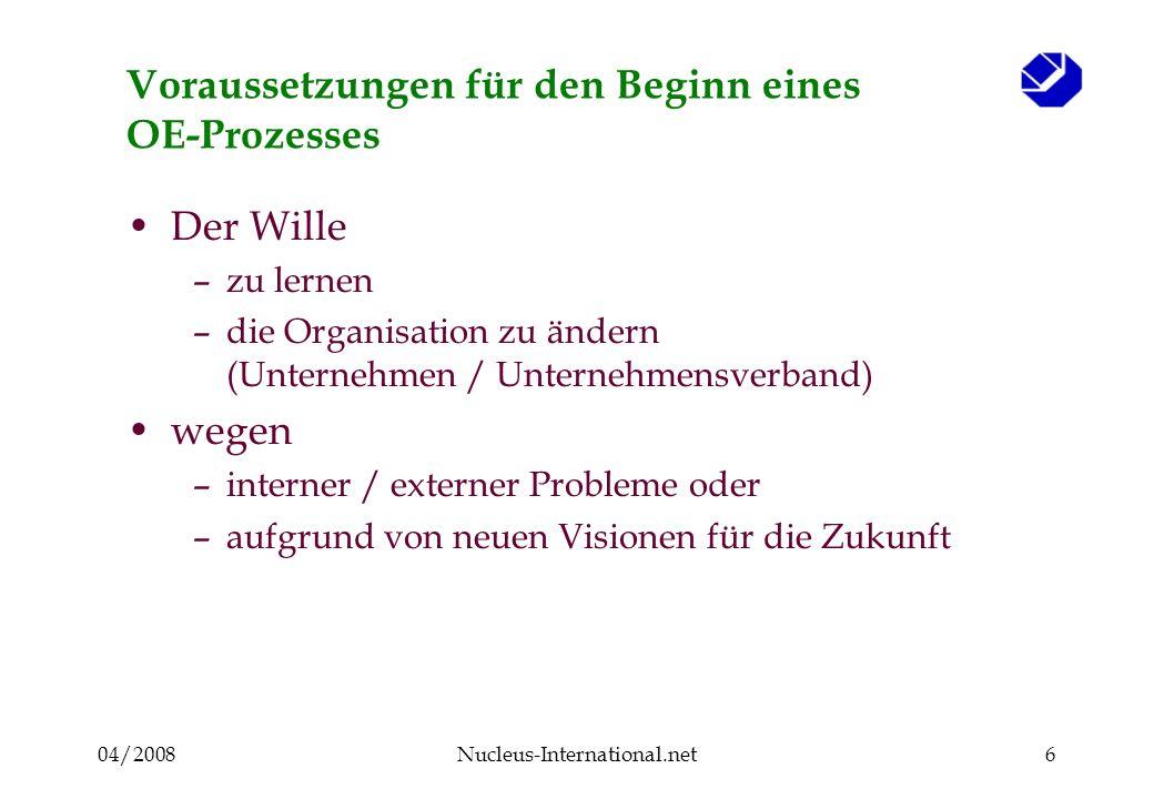 04/2008Nucleus-International.net6 Voraussetzungen für den Beginn eines OE-Prozesses Der Wille –zu lernen –die Organisation zu ändern (Unternehmen / Un