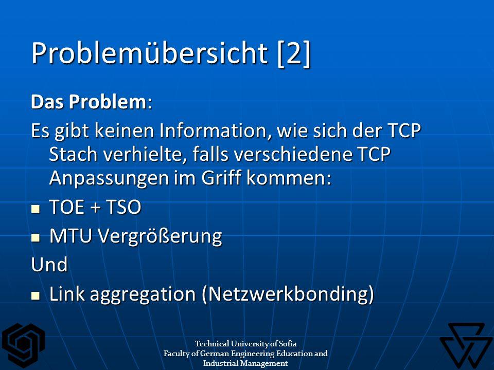 Das Problem: Es gibt keinen Information, wie sich der TCP Stach verhielte, falls verschiedene TCP Anpassungen im Griff kommen: TOE + TSO TOE + TSO MTU