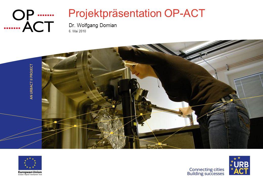 National URBACT Days I Saturday, 17 May 2014 I Page 2 OP-ACT – Options of Actions OP-ACT Leoben fungiert als Lead Partner im Projekt OP-ACT Options of Actions zur Positionierung von klein- und mittelgroßen Städten.