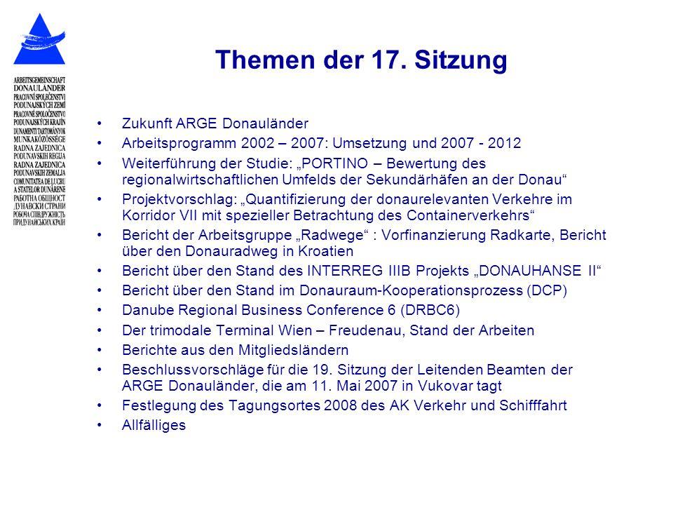 Themen der 17. Sitzung Zukunft ARGE Donauländer Arbeitsprogramm 2002 – 2007: Umsetzung und 2007 - 2012 Weiterführung der Studie: PORTINO – Bewertung d