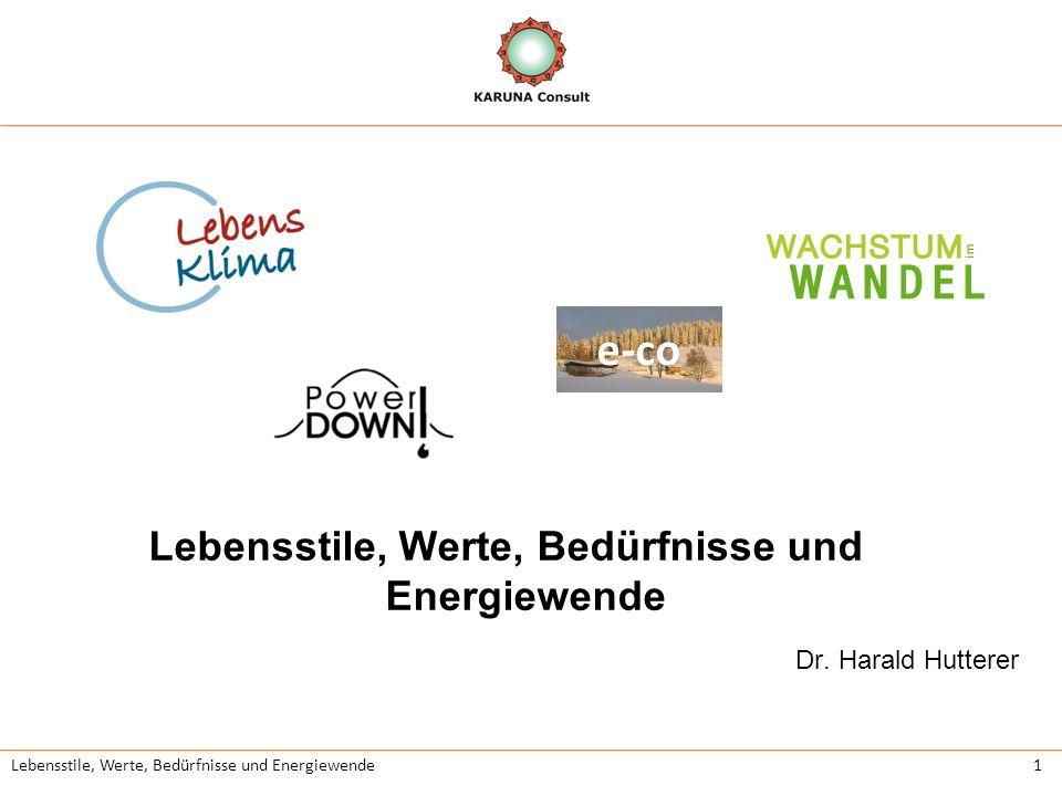 Lebensstile, Werte, Bedürfnisse und Energiewende2 LebensKlima Lebensqualität, Lebensstile und Klima beeinflussen einander gegenseitig.