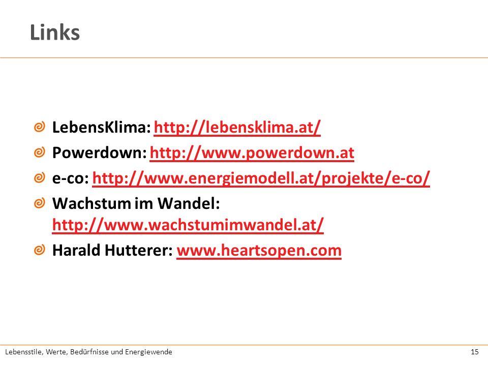 Lebensstile, Werte, Bedürfnisse und Energiewende15 Links LebensKlima: http://lebensklima.at/http://lebensklima.at/ Powerdown: http://www.powerdown.ath