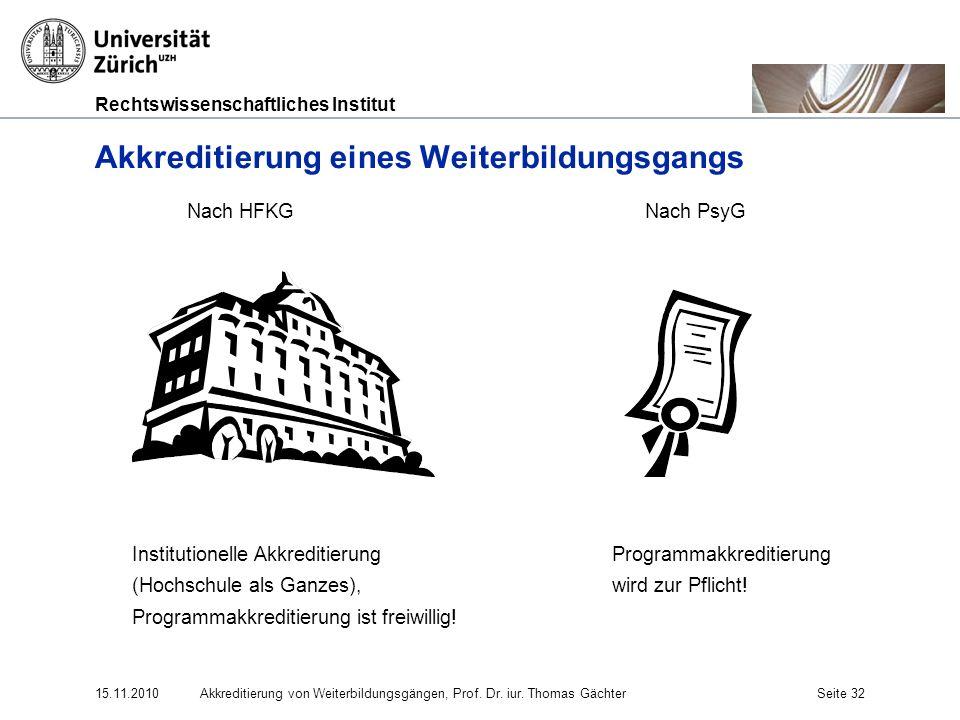 Rechtswissenschaftliches Institut 15.11.2010Akkreditierung von Weiterbildungsgängen, Prof. Dr. iur. Thomas GächterSeite 32 Akkreditierung eines Weiter