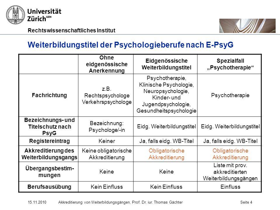 Rechtswissenschaftliches Institut 15.11.2010Akkreditierung von Weiterbildungsgängen, Prof. Dr. iur. Thomas GächterSeite 4 Weiterbildungstitel der Psyc