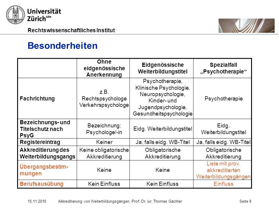 Rechtswissenschaftliches Institut 15.11.2010Akkreditierung von Weiterbildungsgängen, Prof. Dr. iur. Thomas GächterSeite 8 Besonderheiten Ohne eidgenös