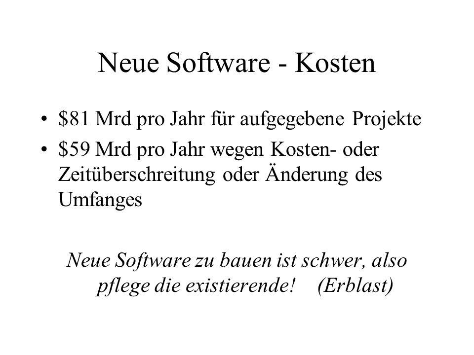 Neue Software - Kosten $81 Mrd pro Jahr für aufgegebene Projekte $59 Mrd pro Jahr wegen Kosten- oder Zeitüberschreitung oder Änderung des Umfanges Neue Software zu bauen ist schwer, also pflege die existierende!(Erblast)