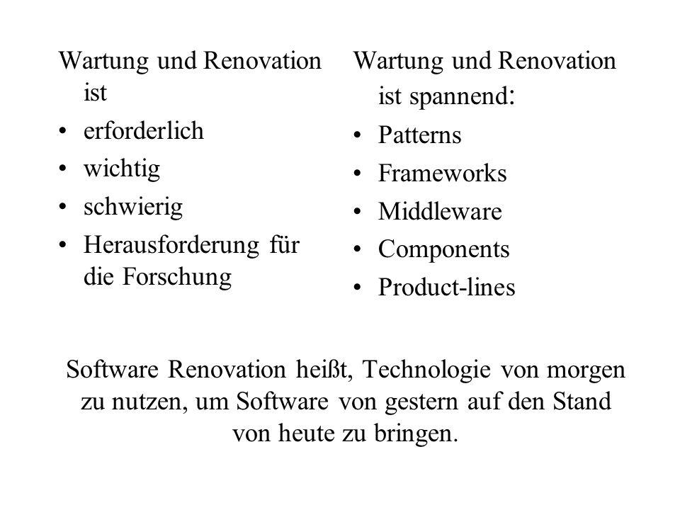 Software Renovation heißt, Technologie von morgen zu nutzen, um Software von gestern auf den Stand von heute zu bringen. Wartung und Renovation ist er