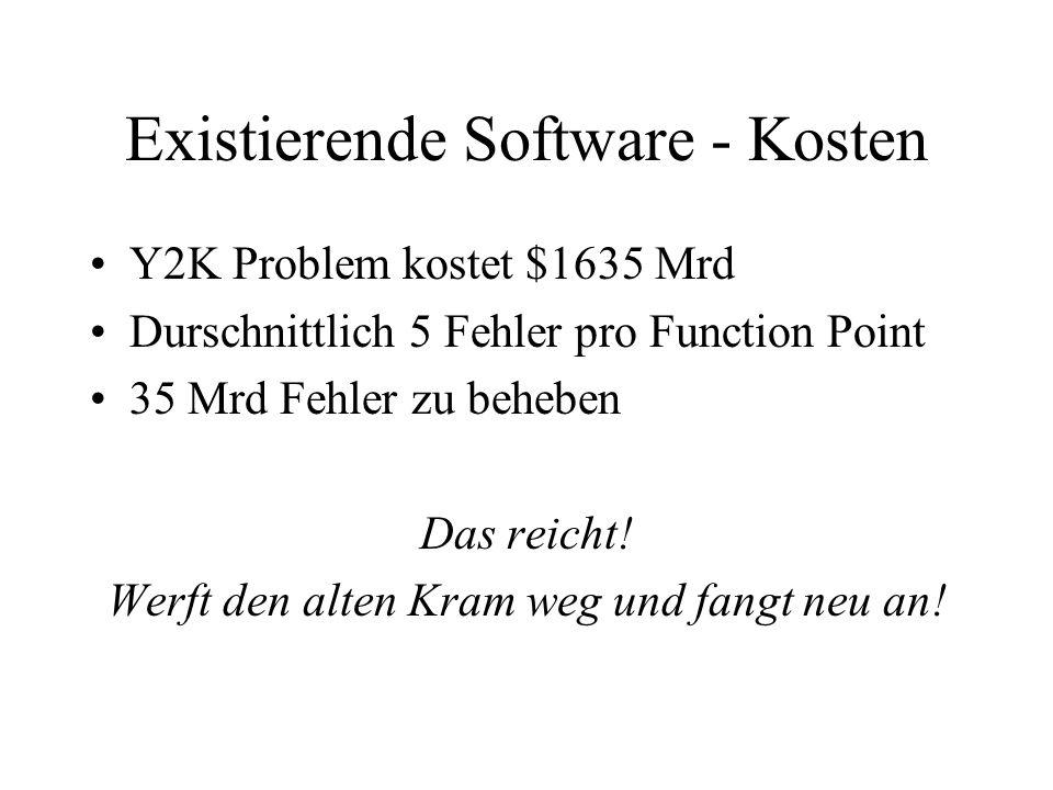 Existierende Software - Kosten Y2K Problem kostet $1635 Mrd Durschnittlich 5 Fehler pro Function Point 35 Mrd Fehler zu beheben Das reicht! Werft den