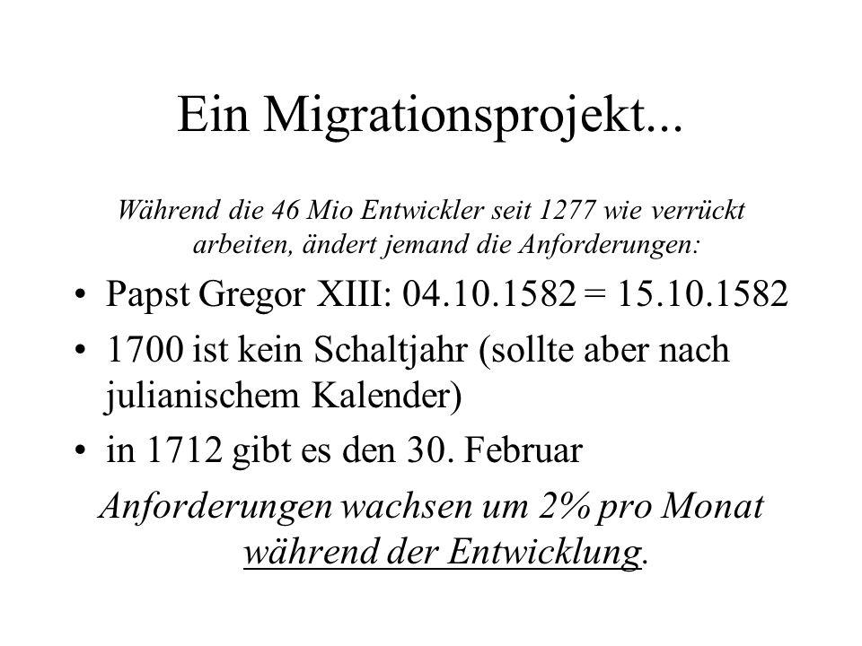 Ein Migrationsprojekt... Während die 46 Mio Entwickler seit 1277 wie verrückt arbeiten, ändert jemand die Anforderungen: Papst Gregor XIII: 04.10.1582