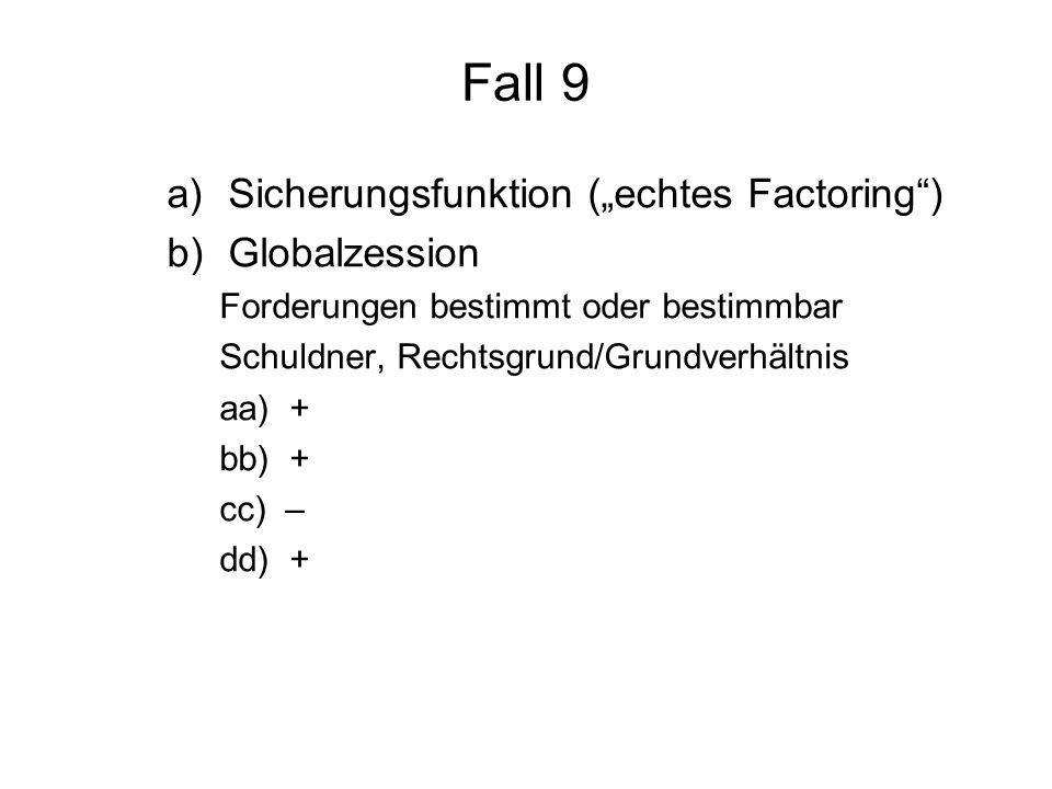 Fall 9 a)Sicherungsfunktion (echtes Factoring) b)Globalzession Forderungen bestimmt oder bestimmbar Schuldner, Rechtsgrund/Grundverhältnis aa) + bb) +