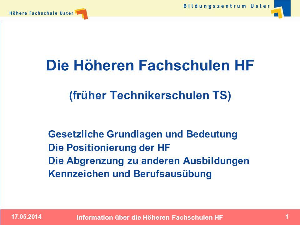 17.05.2014 Information über die Höheren Fachschulen HF 1 Die Höheren Fachschulen HF (früher Technikerschulen TS) Gesetzliche Grundlagen und Bedeutung