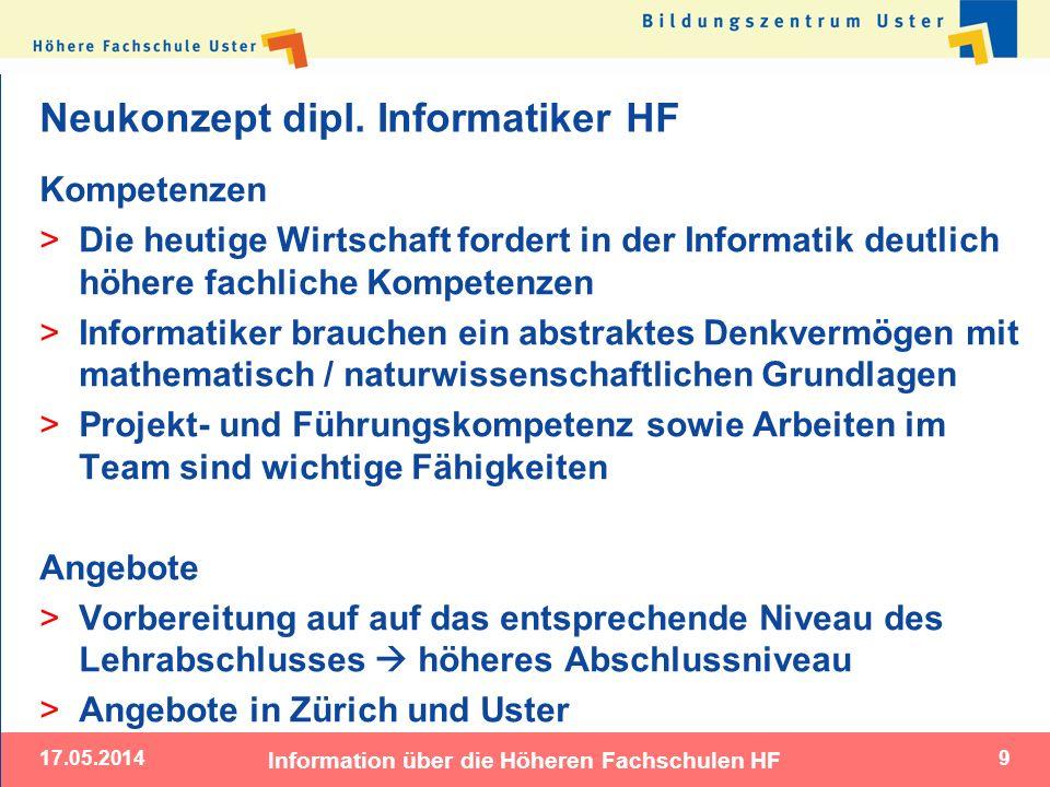 17.05.2014 Information über die Höheren Fachschulen HF 9 Neukonzept dipl. Informatiker HF Kompetenzen > Die heutige Wirtschaft fordert in der Informat