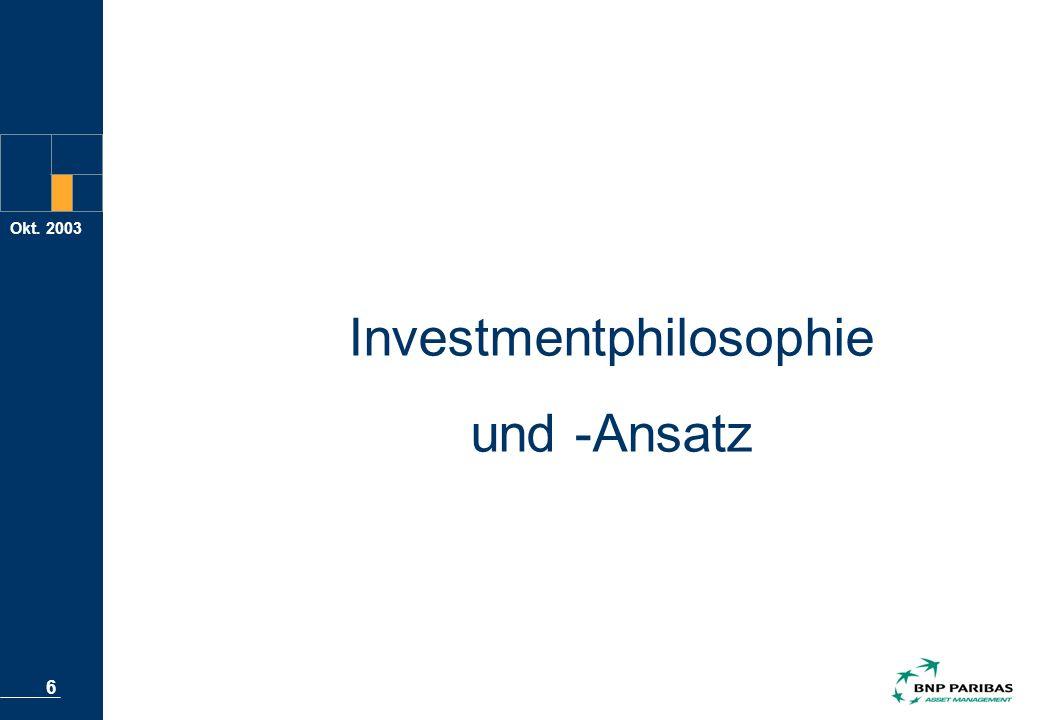 Okt. 2003 6 Investmentphilosophie und -Ansatz