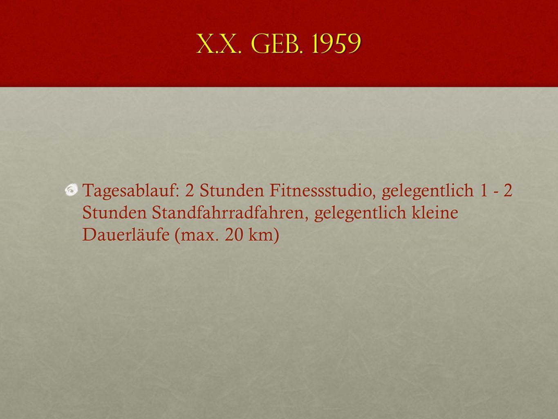 X.X. geb. 1959 GA 2003 Variable chronische Rückenschmerzen, Sensibilitätsstörungen in beiden Beinen Freie Beweglichkeit der WS, mäßiger Muskelhartspan