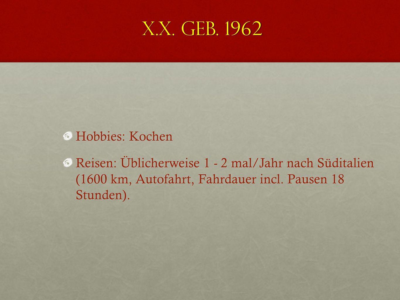 X.X. geb. 1962 Tagesablauf: ca. 3 - 5 Stunden Hausarbeit Kocht eine warme Malzeit pro Tag Versorgt den Haushalt überwiegend alleine (75- Quadratmeter