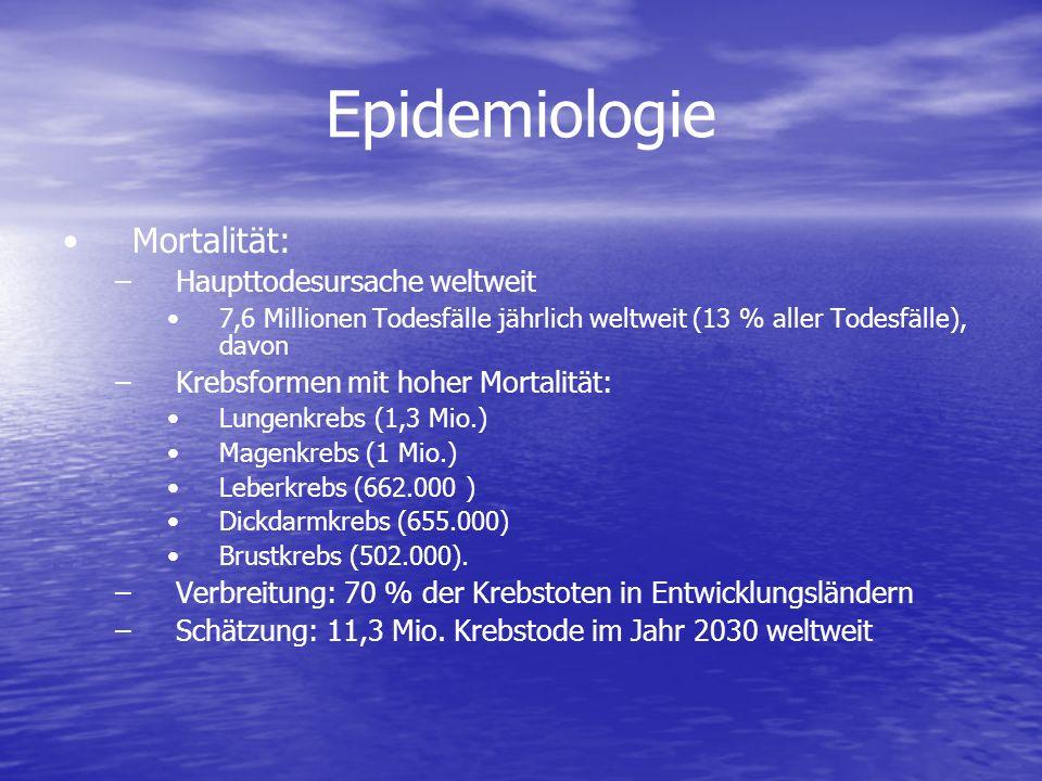 Epidemiologie Mortalität: – –Haupttodesursache weltweit 7,6 Millionen Todesfälle jährlich weltweit (13 % aller Todesfälle), davon – –Krebsformen mit h