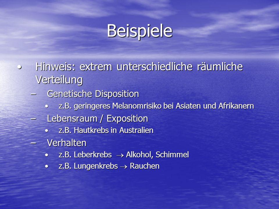 Beispiele Hinweis: extrem unterschiedliche räumliche VerteilungHinweis: extrem unterschiedliche räumliche Verteilung –Genetische Disposition z.B. geri