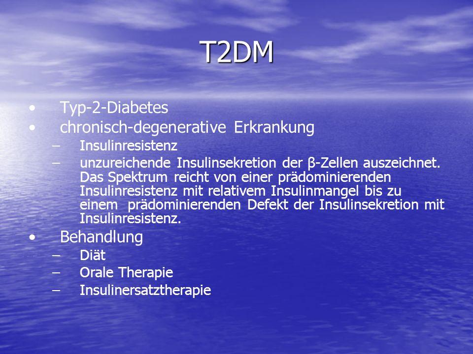 T2DM Typ-2-Diabetes chronisch-degenerative Erkrankung – –Insulinresistenz – –unzureichende Insulinsekretion der β-Zellen auszeichnet. Das Spektrum rei