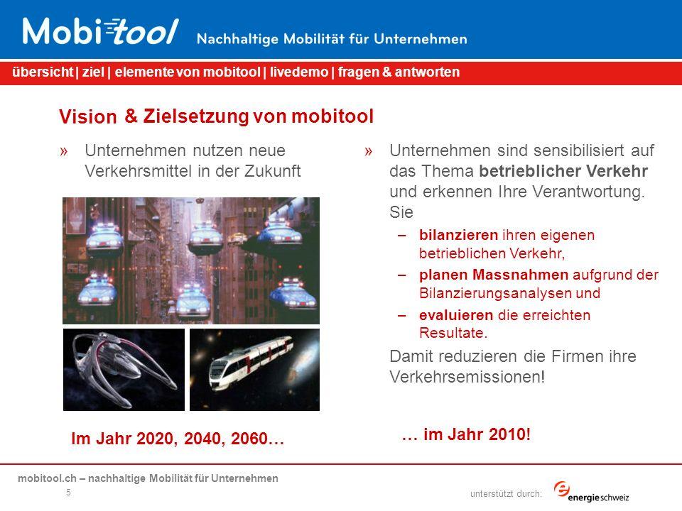 mobitool.ch – nachhaltige Mobilität für Unternehmen übersicht | ziel | elemente von mobitool | livedemo | fragen & antworten unterstützt durch: Elemente von mobitool »Spielt der Verkehr in unserer Firma eine Rolle.