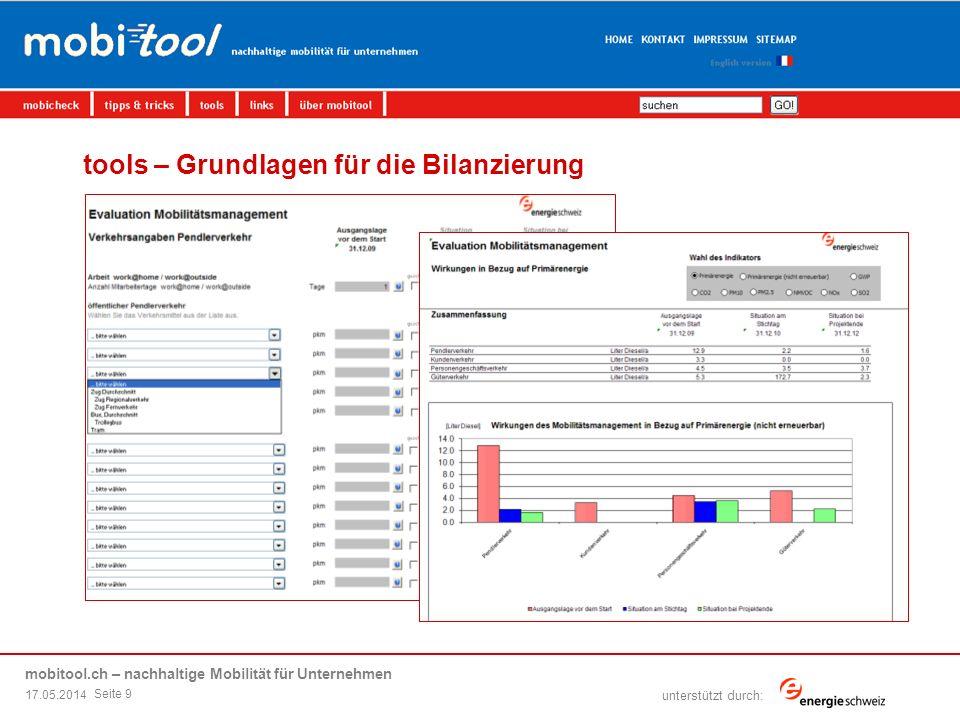 mobitool.ch – nachhaltige Mobilität für Unternehmen übersicht | ziel | elemente von mobitool | livedemo | fragen & antworten unterstützt durch: tools – Grundlagen für die Bilanzierung 17.05.2014 Seite 9