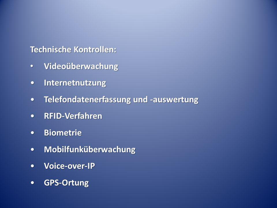 Technische Kontrollen: Videoüberwachung Videoüberwachung InternetnutzungInternetnutzung Telefondatenerfassung und -auswertungTelefondatenerfassung und
