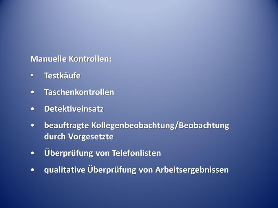 Manuelle Kontrollen: Testkäufe Testkäufe TaschenkontrollenTaschenkontrollen DetektiveinsatzDetektiveinsatz beauftragte Kollegenbeobachtung/Beobachtung