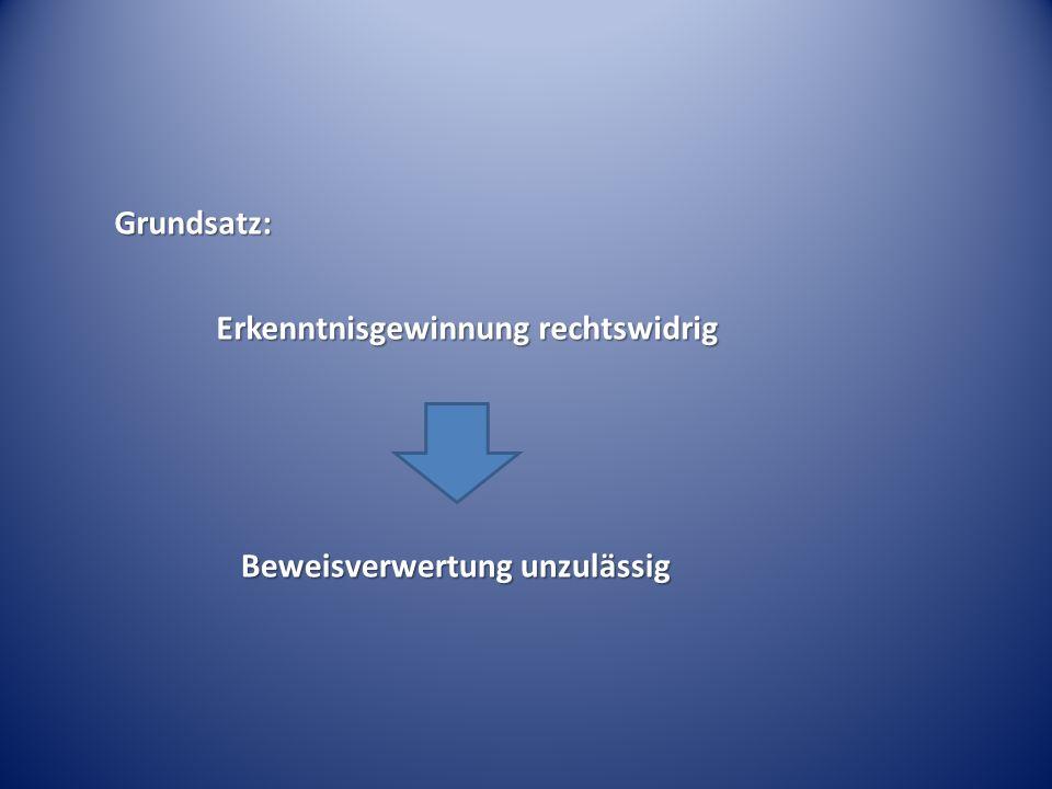 Grundsatz: Erkenntnisgewinnung rechtswidrig Erkenntnisgewinnung rechtswidrig Beweisverwertung unzulässig