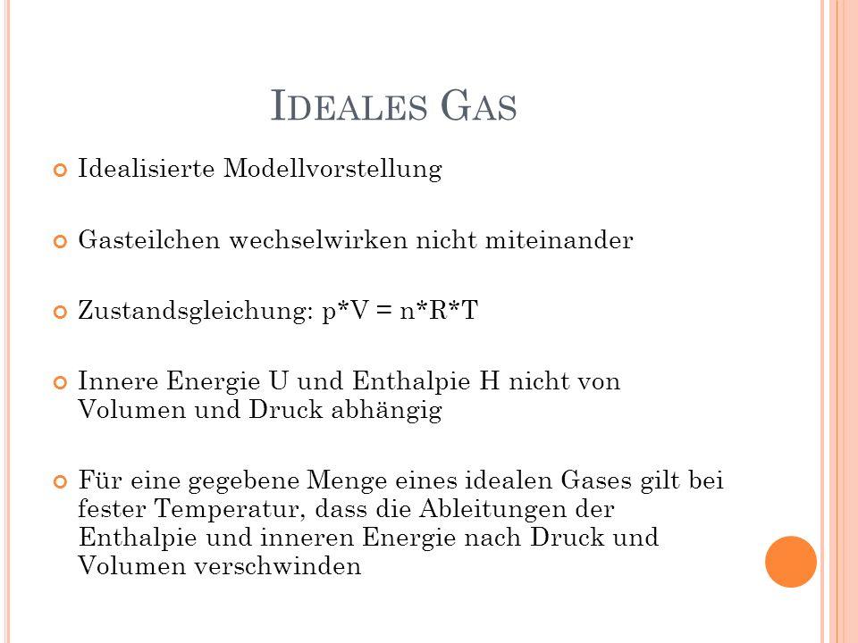 I DEALES G AS Idealisierte Modellvorstellung Gasteilchen wechselwirken nicht miteinander Zustandsgleichung: p*V = n*R*T Innere Energie U und Enthalpie