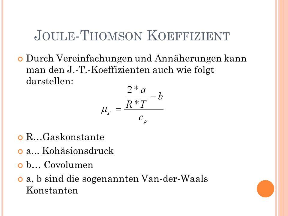 Durch Vereinfachungen und Annäherungen kann man den J.-T.-Koeffizienten auch wie folgt darstellen: R…Gaskonstante a... Kohäsionsdruck b… Covolumen a,