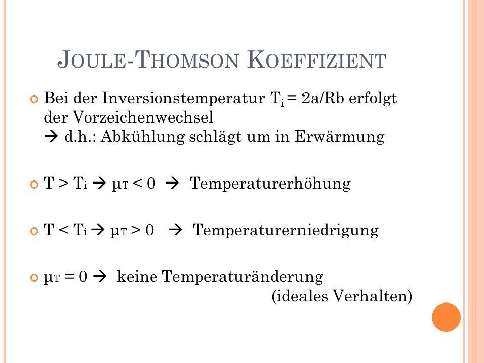 Bei der Inversionstemperatur T i = 2a/Rb erfolgt der Vorzeichenwechsel d.h.: Abkühlung schlägt um in Erwärmung T > T i μ T < 0 Temperaturerhöhung T 0