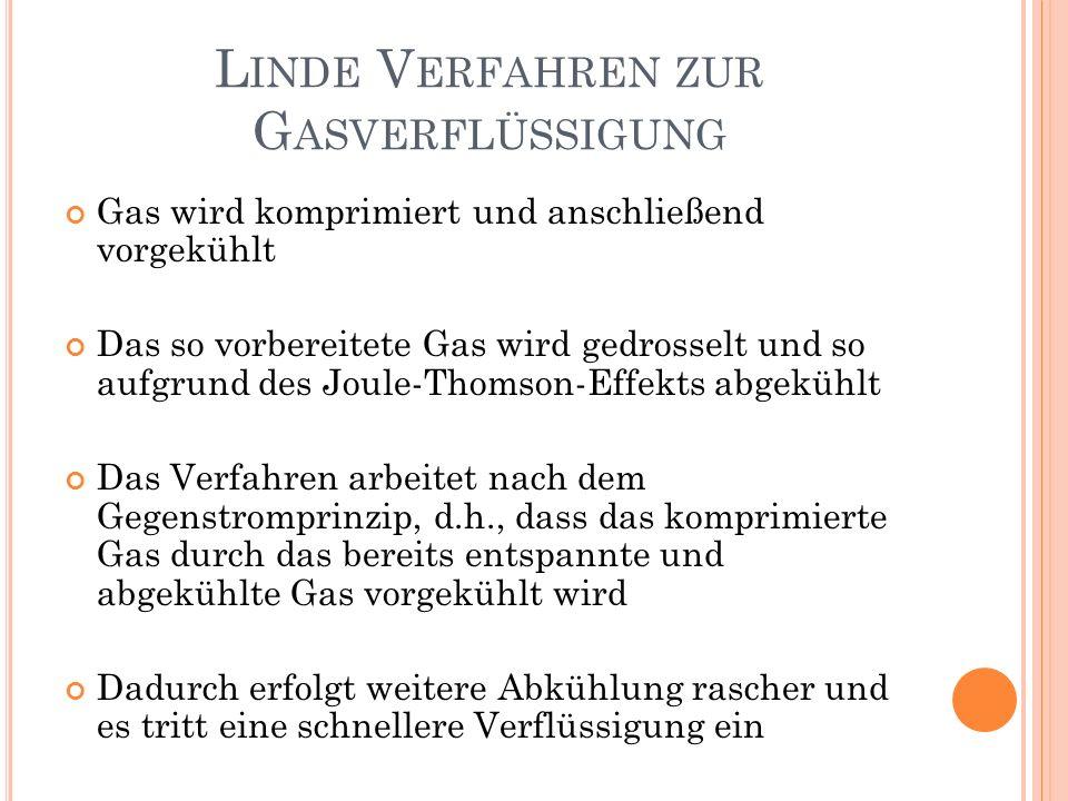 Gas wird komprimiert und anschließend vorgekühlt Das so vorbereitete Gas wird gedrosselt und so aufgrund des Joule-Thomson-Effekts abgekühlt Das Verfa