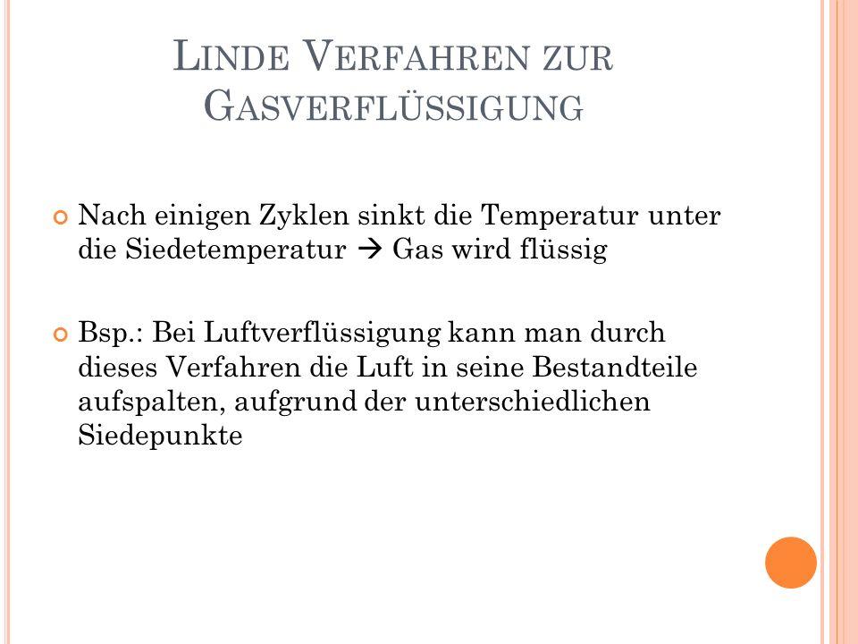 Nach einigen Zyklen sinkt die Temperatur unter die Siedetemperatur Gas wird flüssig Bsp.: Bei Luftverflüssigung kann man durch dieses Verfahren die Lu