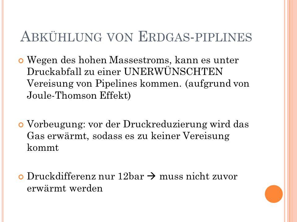 A BKÜHLUNG VON E RDGAS - PIPLINES Wegen des hohen Massestroms, kann es unter Druckabfall zu einer UNERWÜNSCHTEN Vereisung von Pipelines kommen. (aufgr