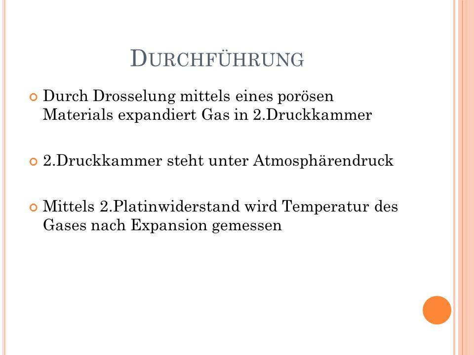 D URCHFÜHRUNG Durch Drosselung mittels eines porösen Materials expandiert Gas in 2.Druckkammer 2.Druckkammer steht unter Atmosphärendruck Mittels 2.Pl