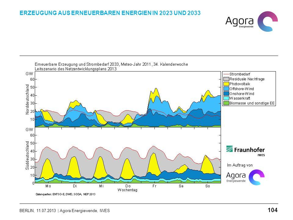 BERLIN, 11.07.2013 | Agora Energiewende, IWES ERZEUGUNG AUS ERNEUERBAREN ENERGIEN IN 2023 UND 2033 104