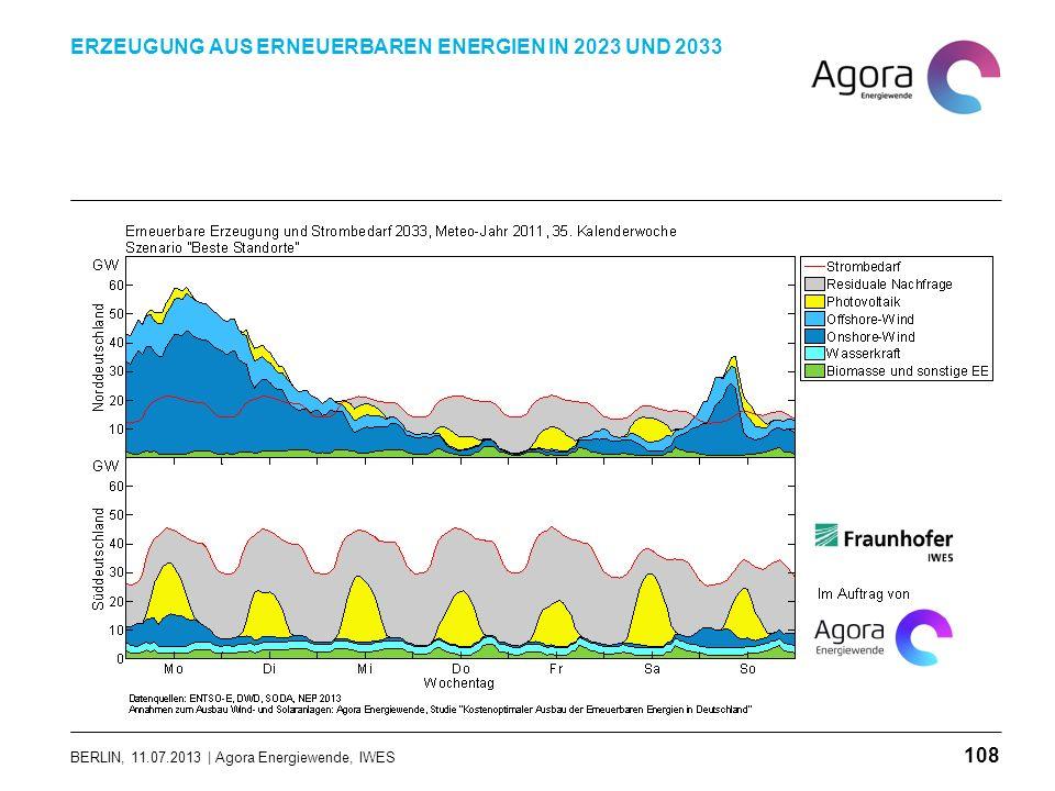 BERLIN, 11.07.2013 | Agora Energiewende, IWES ERZEUGUNG AUS ERNEUERBAREN ENERGIEN IN 2023 UND 2033 108